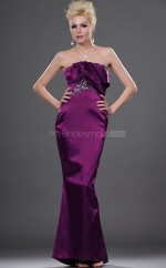 Regency Satin Mermaid Strapless Long Bridesmaid Dresses (NZBD06448)