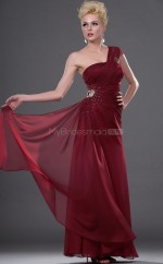 Burgundy Chiffon Sheath One Shoulder Long Bridesmaid Dresses (NZBD06450)