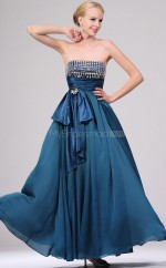 Ink Blue Chiffon A-line Strapless Long Bridesmaid Dresses (NZBD06454)