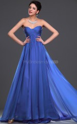 Ocean Blue Chiffon A-line Sweetheart Long Bridesmaid Dresses (NZBD06477)