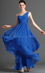 Ocean Blue Chiffon A-line One Shoulder Long Bridesmaid Dresses (NZBD06484)