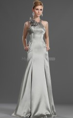 Silver Chiffon Sheath Halter Long Bridesmaid Dresses (NZBD06488)