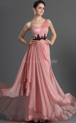 Candy Pink Satin Chiffon A-line One Shoulder Long Bridesmaid Dresses (NZBD06490)