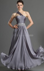 Silver Chiffon A-line One Shoulder Long Bridesmaid Dresses (NZBD06492)