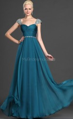 Ocean Blue Chiffon A-line Off The Shoulder Long Bridesmaid Dresses (NZBD06499)