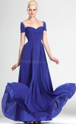 Royal Blue Chiffon A-line Off The Shoulder Long Bridesmaid Dresses (NZBD06508)