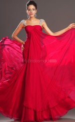 Red Chiffon Mermaid Off The Shoulder Long Bridesmaid Dresses (NZBD06513)