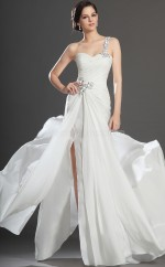 White Chiffon Mermaid One Shoulder Floor-length Vintage Bridesmaid Dresses (NZBD06515)