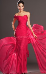 Red Chiffon Mermaid One Shoulder Long Bridesmaid Dresses (NZBD06516)