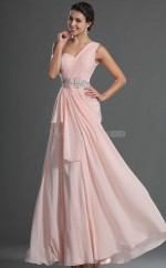Pink Chiffon A-line One Shoulder Long Bridesmaid Dresses (NZBD06517)