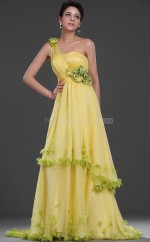 Yellow Chiffon A-line One Shoulder Long Bridesmaid Dresses (NZBD06527)