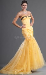 Yellow Organza Mermaid Sweetheart Long Bridesmaid Dresses (NZBD06531)