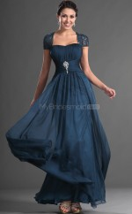 Ink Blue Chiffon A-line Off The Shoulder Long Bridesmaid Dresses (NZBD06537)