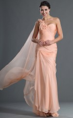 Pearl Pink Chiffon Mermaid One Shoulder Long Bridesmaid Dresses (NZBD06545)