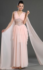 Pink Chiffon Sheath V-neck Long Bridesmaid Dresses (NZBD06547)