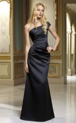 Black Satin Mermaid One Shoulder Long Bridesmaid Dresses (NZBD06548)