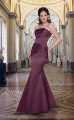Grape Satin Mermaid Strapless Long Bridesmaid Dresses (NZBD06550)