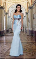 Sky Blue Stretch Satin Mermaid Sweetheart Long Bridesmaid Dresses (NZBD06553)