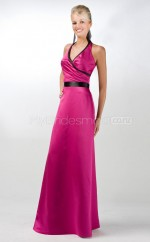 Fuchsia Matte Satin Sheath Halter Long Bridesmaid Dresses (NZBD06567)