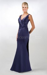 Ink Blue Satin Mermaid V-neck Long Bridesmaid Dresses (NZBD06568)
