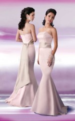 Pearl Pink Satin Mermaid Strapless Long Bridesmaid Dresses (NZBD06570)