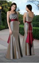 Silver Taffeta Mermaid One Shoulder Long Bridesmaid Dresses (NZBD06573)