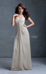 Silver Chiffon Sheath Sweetheart Long Bridesmaid Dresses (NZBD06579)