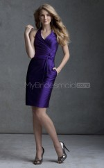Purple Matte Satin Sheath V-neck Knee-length Bridesmaid Dresses (NZBD06581)