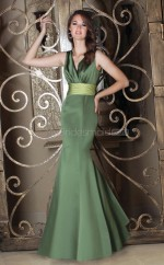 Jade Satin Mermaid V-neck Long Bridesmaid Dresses (NZBD06589)