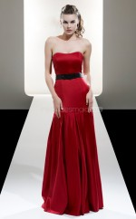 Red Satin A-line Strapless Long Bridesmaid Dresses (NZBD06603)