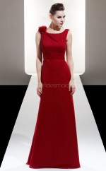 Red Chiffon A-line Bateau Long Bridesmaid Dresses (NZBD06605)