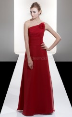 Red Chiffon A-line One Shoulder Long Bridesmaid Dresses (NZBD06613)