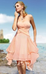 Blushing Pink Chiffon A-line Sweetheart Asymmetrical Bridesmaid Dresses (NZBD06614)