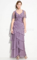 Chiffon A-line V-neck Long Bridesmaid Dresses (NZBD06619)