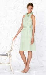 Sage Chiffon A-line High Neck Knee-length Bridesmaid Dress For Beach(NZBD06628)
