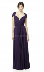 Grape Chiffon A-line Sweetheart Long Bridesmaid Dresses (NZBD06634)