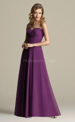 Grape Chiffon A-line Sweetheart Long Bridesmaid Dresses (NZBD06636)