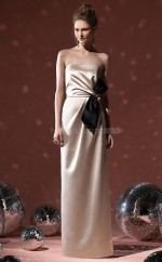 Champagne Stretch Satin Sheath Strapless Long Bridesmaid Dresses (NZBD06637)