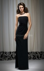 Black Chiffon Sheath Strapless Long Bridesmaid Dresses (NZBD06647)