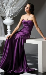 Grape Stretch Satin A-line Sweetheart Long Bridesmaid Dresses (NZBD06648)