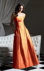 Orange Taffeta A-line Strapless Floor-length Vintage Bridesmaid Dresses (NZBD06650)