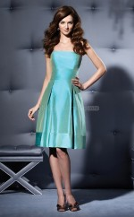 Sky Blue Taffeta A-line Strapless Knee-length Vintage Bridesmaid Dresses (NZBD06653)
