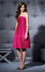 Fuchsia Taffeta A-line Strapless Knee-length Bridesmaid Dresses (NZBD06655)