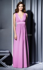 Lilac Chiffon A-line V-neck Long Bridesmaid Dresses (NZBD06656)