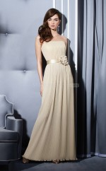 Champagne Chiffon A-line Strapless Long Bridesmaid Dresses (NZBD06657)