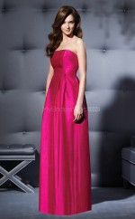 Fuchsia Satin A-line Strapless Long Bridesmaid Dresses (NZBD06665)