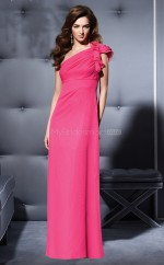 Fuchsia Chiffon Sheath One Shoulder Long Bridesmaid Dresses (NZBD06666)