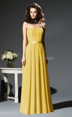 Yellow Chiffon A-line Strapless Long Bridesmaid Dresses (NZBD06671)