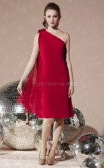 Burgundy Chiffon A-line One Shoulder Knee-length Bridesmaid Dresses (NZBD06674)