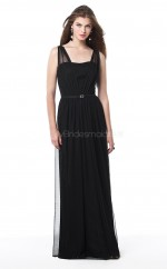 Dark Navy Chiffon Sheath V-neck Long Bridesmaid Dresses (NZBD06680)